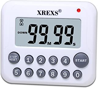 XREXS Digital Kitchen Timer Magnetic Countdown Up Cooking Timer Clock with Magnet Back and Clip, Loud Alarm, Large Display Minutes and Seconds Directly Input-White (2 Battery Included)