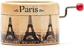 Carillon manovella decorato con la Torre Eiffel Parigi che suona il Valzer di Amelie. Francia souvenir. La Valse d'Amelie