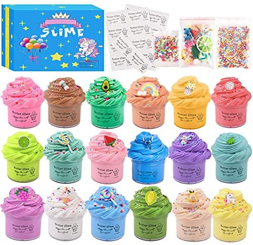 Luclay Slime Putty Slime, 18 Paquetes Kit de Limo de Mantequilla Suave Juguetes para aliviar el estrés para niños Adolescentes Adultos para aliviar el estrés, Ejercicios de Manos y Dedos