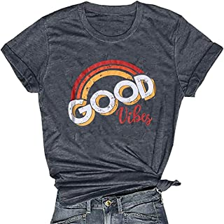 Good Vibes T Shirt Women Rainbow Print Graphic Tee Funny Short Sleeve Casual Letters Print Shirts Tops