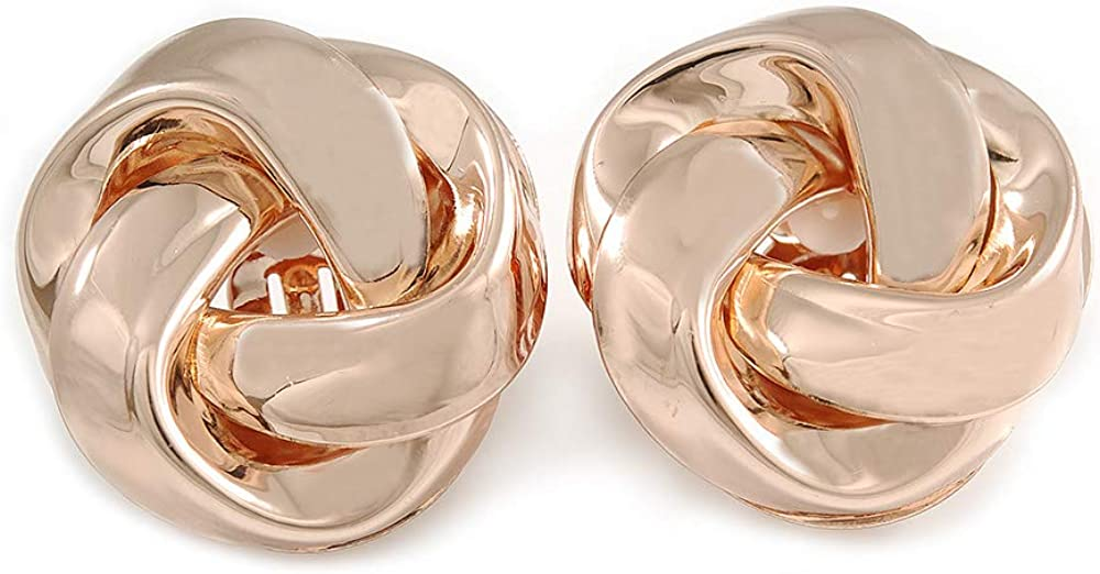 Large Polished Rose Gold Tone Knot Clip On Earrings - 35mm D