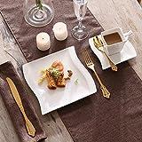 MALACASA, Serie Flora, 18 TLG. Set CremeWeiß Porzellan Kaffeeservice Geschirrset mit je 6 Kuchenteller, 6 Tasse 220ml, 6 Untertasse für 6 Personen - 4