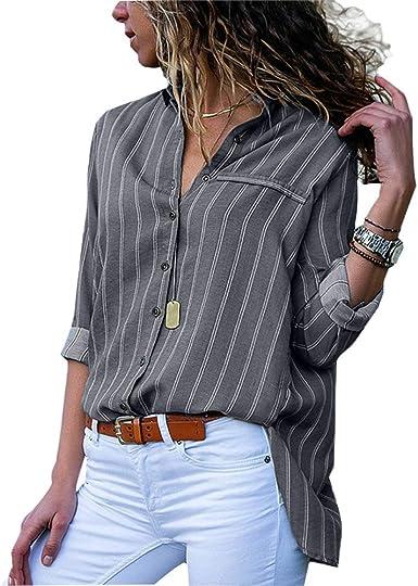 Camisas Mujer Blusa de Oficina de Trabajo Irregular de Rayas ...