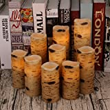 "Antizer Flameless Candles Battery Operated Candles Birch Bark Effect 4"" 5"" 6"" 7"" 8"" 9"" Set of 9 Ivory Real Wax Pillar LED Candles with Real Wax Pillar with 10-Key Remote Control 2/4/6/8 Hours Timer"