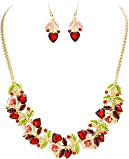 Rosemarie Collections Women's Beautiful Statement Flower and Vine Glass Crystal Necklace and Earrings Set