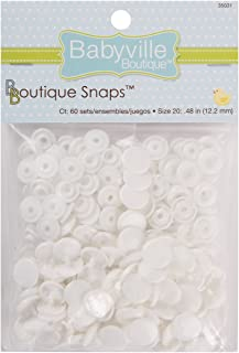Babyville Boutique 35031 Snaps, Size 20, White (60-Sets)