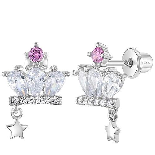 925 Sterling Silver Cubic Zirconia Princess Crown Screw Back Earrings for Girls