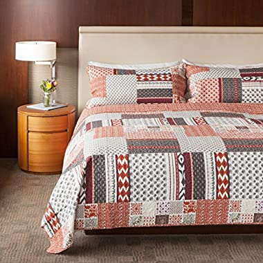 SLPR Homespun Happiness 3-Piece 100% Cotton Lightweight Printed Quilt Set (Queen) | with 2 Shams Machine Washable All-Season Bedspread Coverlet