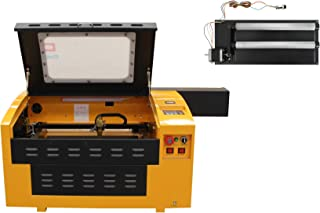 TEN-HIGH Upgraded Version CO2 60W 110V 300x400mm Laser Engraving Cutting Machine with USB Port, Include Rotary axis.