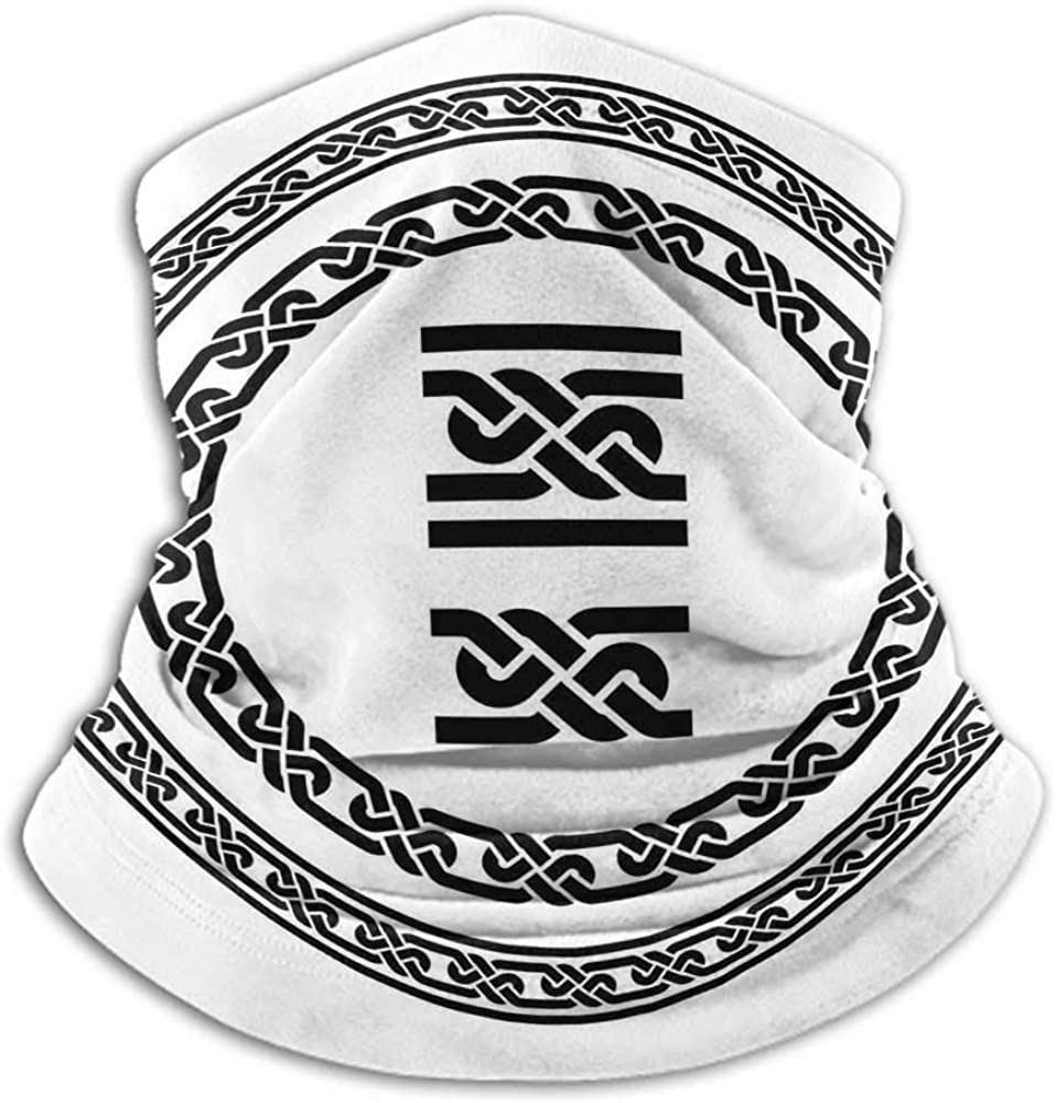 Neck Warmer Celtic Headband Neck Gaiter Old Fashion Lace Celtic Knots Symbol Medieval Design Artsy Vikings Theme Graphic 10 x 12 Inch Black White