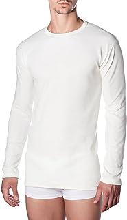MarcLuis T-Shirt Intima Uomo Felpato Mezza Manica Girocollo Invernale Cotone 3Pz