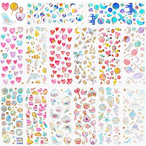 HOWAF 500+ 3D Aufkleber für Kinder Mädchen Basteln DIY Scrapbooking, Epoxid Geschwollen Glitzer Stickers für Papeterie Wasserflasche, Regenbogen Einhorn Herz Planet Star Prinzessin Sterne Tier Sticker