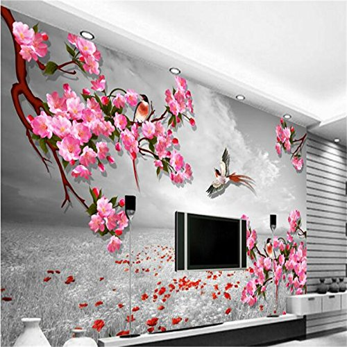 LHDLily 3D Tapete 3D Wallpaper Fresken Wandbilder Verdicken Custom Photo Wall Sticker Retro Hintergrund Blume Vogel Schaltplan Fernseher Sofa Hintergrund Wände 150Cmx100Cm
