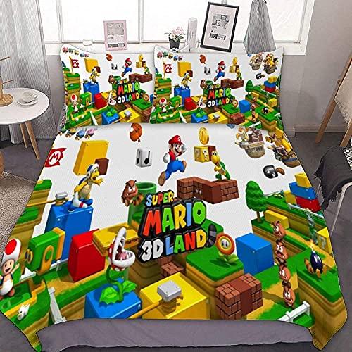 YYXPDD Cartoon Mario Bros. Beddengoedset 3-delige set 135×200 100% microvezel kinderbeddengoed set dekbedovertrek…