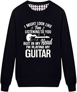 Unisex But in My Head I'm Playing My Guitar Novelty Graphic Sweatshirt