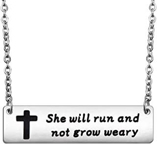 Bible Verse Isaiah 40:31 Necklace Marathon Runner Gifts Runner She Will Run and Not Grow Weary Necklace Running Jewelry Inspirational Gift