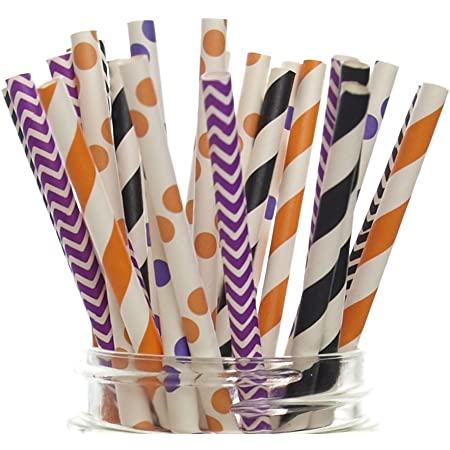 Halloween straws black with white faces Paper Straws pack of 15