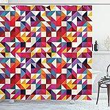 ABAKUHAUS Geometrisch Duschvorhang, Bauhaus-Stil-Muster, mit 12 Ringe Set Wasserdicht Stielvoll Modern Farbfest & Schimmel Resistent, 175x200 cm, Mehrfarbig