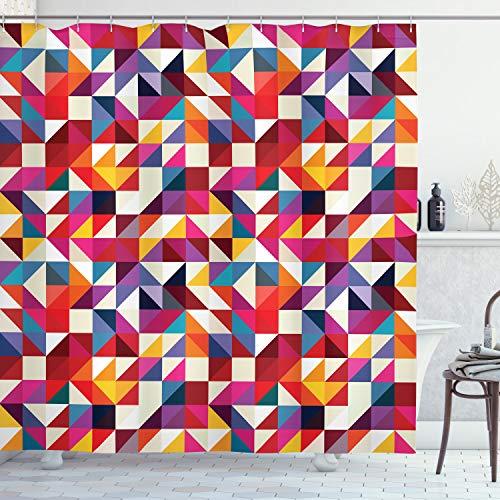 ABAKUHAUS Geometrisch Duschvorhang, Bauhaus-Stil-Muster, mit 12 Ringe Set Wasserdicht Stielvoll Modern Farbfest und Schimmel Resistent, 175x200 cm, Mehrfarbig