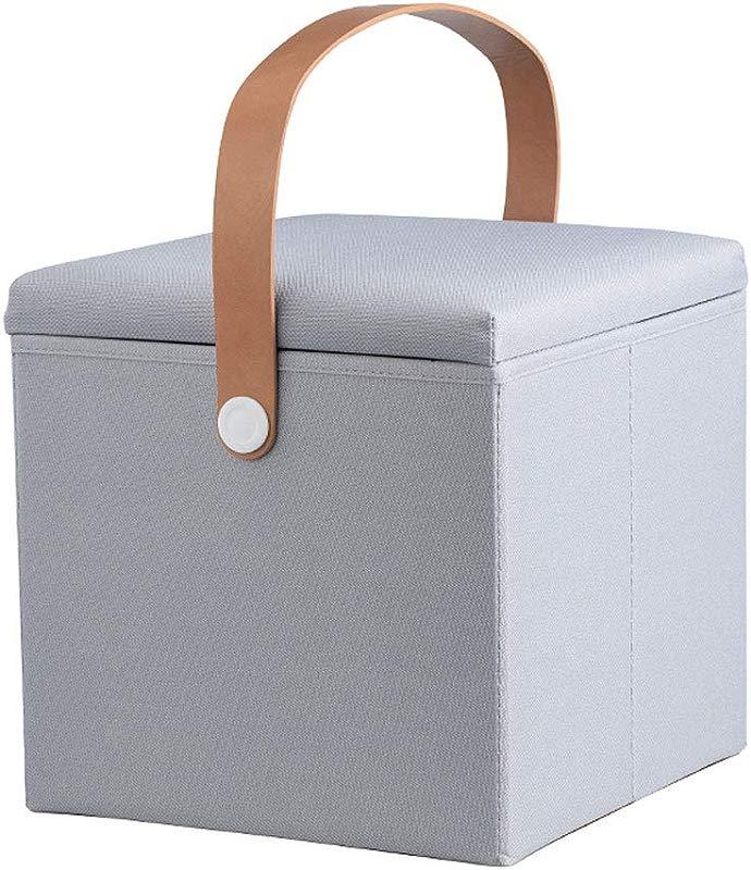 ZYN Storage Ottoman Creative Portable Design Flip Cover Sub Grid Storage Box Foldable Change Shoe Bench Multicolor 25L Color Gray