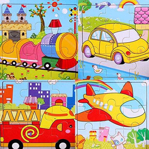 SIPLIV Puzzle de Madera Puzzle de 9 Piezas Adecuado para Mayores de 14 años, Conjunto de 4, Transporte