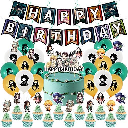Demon Slayer birthday suit, banner, balloon, cake topper, spiral, Demon Slayer theme party decoration.