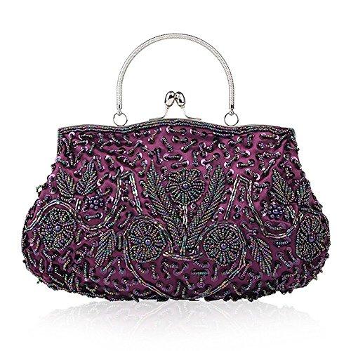 EROUGE Beaded Sequin Design Flower Evening Purse Large Clutch Bag (Purple)