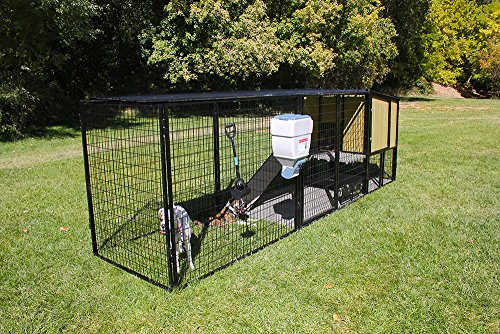 4' X 4' K9 Kennel Castle House with 7' Tall 4' X 16' Run-Metal Cover-Ultimate