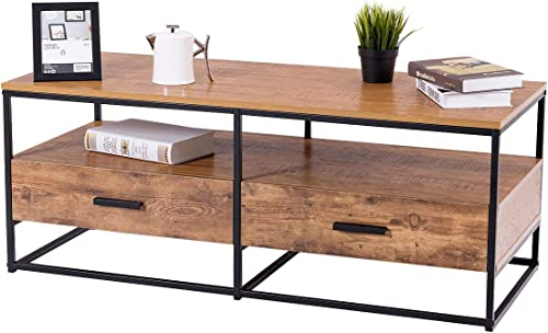 discount Giantex Coffee Table Two Tiers W/Drawers Storage sale Metal Solid Frame, Natural Wood Decorative Line Pattern, for Living Room high quality Bedroom Accent Cocktail Sofa Side Table online sale