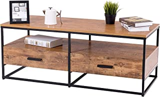 Giantex Coffee Table Two Tiers W/Drawers Storage Metal Solid Frame, Natural Wood Decorative Line Pattern, for Living Room Bedroom Accent Cocktail Sofa Side Table