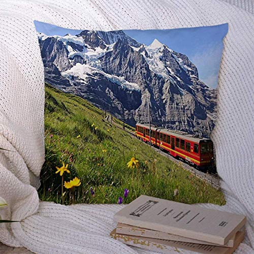 BONRI Fundas de Almohada Decorativas Funda de Almohada Decorativa Cuadrada Rueda Dentada Tren turístico Transporte de Viaje Ferrocarril de Jungfrau Top Europa Transporte Salvaje Funda de16x16pulgada