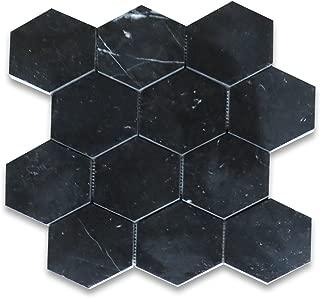 Nero Marquina Black Marble Hexagon Mosaic Tile 4 inch Polished