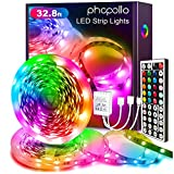 Phopollo Led Strip Lights Color Changing 32.8ft Flexible 5050 RGB Led Lights Kit with 12v Power Supply and 44 Key Ir Remote Controller