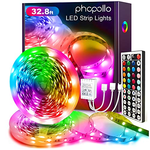 Phopollo LED Lights 32.8 FT RGB Led Strip Lights for Bedroom Color Changing 300 LEDs Bright Luces led para decoracion DIY Color Option with Power Supply