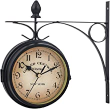 Double Sided Wall Clock, European Style Wrought Iron Wall Clock, Vintage Double Sided Wall Clock, Hanging Decor Suitable f...