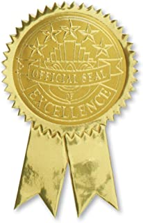 Official Excellence Embossed Gold Ribbon Certificate Seals, 102 Pack