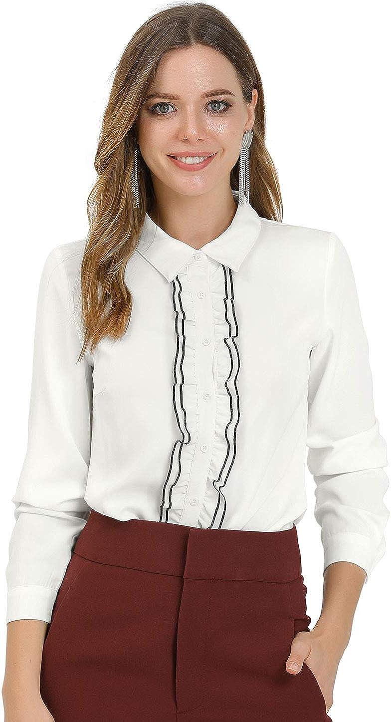 Allegra K Women's Elegant Ruffle Contrast Button Down Collar Work Shirt Blouse