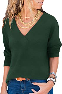 Women's Knit Tunic Long Sleeve V-Neck Loose Casual Pullover Tee T-Shirt Tops S-XXXL