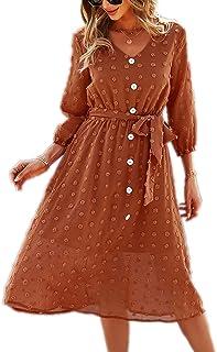 YOXUA Women's Summer Dresses 3/4 Sleeve V Neck Button Down Tie Waist Solid Colour Swiss Dot A Line Tunic Sundress for Women