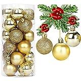 RSVOM 24 bolas de Navidad para decoración de árbol de Navidad, 6 cm, doradas,...
