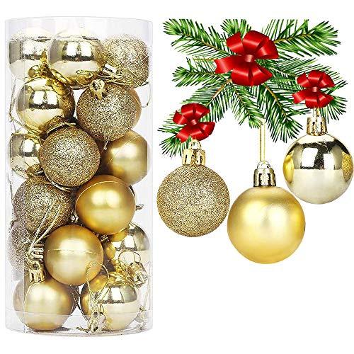 RSVOM 24 palline per albero di Natale per decorazioni per albero di Natale, (6 cm) dorate, infrangibili, grandi palline di Natale, decorazioni per Natale, feste, matrimoni, Capodanno