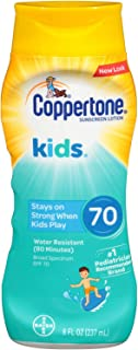 Coppertone KIDS Water-Resistant Sunscreen Lotion Broad Spectrum SPF 70, 8 Fl Oz (Pack of 1), (Packaging may vary)