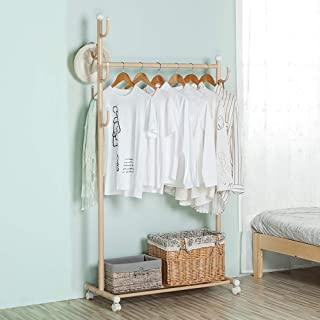 SINGAYE Clothes Rack 2-in-1 Coat Rack Rolling Garment Rack with Bottom Shelves, 7 Side Hooks, Lockable Wheels,Rolling Closet Organizer (Golden)