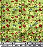 Soimoi Grun Baumwoll-Popeline Stoff mischen Obst Stoff