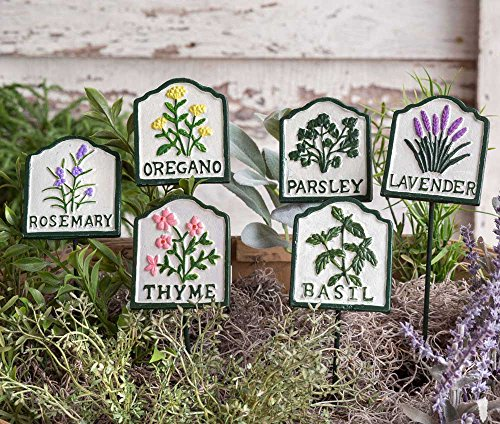 Set of Six Cast Iron Herb Garden Plant Stakes