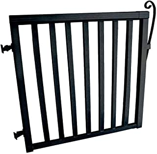 3-5/6 ft. x 3-1/3 ft. Black Wide Aluminum Single Walk Through Picket Gate