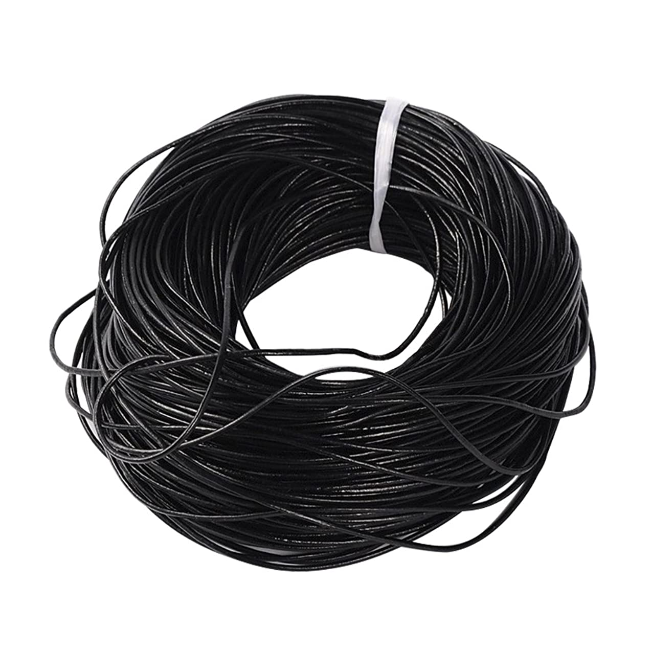 NBEADS 100m Cowhide Leather Cord, Leather Jewelry Cord, Jewelry DIY Making Material, Round, Black, 2mm