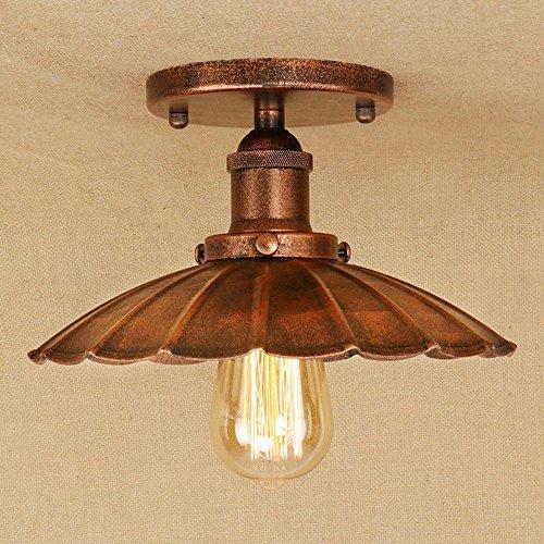 Retro Lámpara de techo Vendimia Industrial Diseño Plafón Redondo Rústico Techo Ligero Innen Iluminación de techo Sala Cocina Pasillo Vestíbulo Corredor Porche Escalera Hierro Lámpara 1 * E27 Ø25cm, D