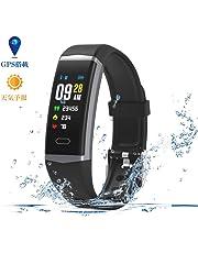 進化版 スマートウォッチ GPS搭載 天気予報 心拍数測定 血圧測定 LINE/着信通知 睡眠検測 消費カロリー 歩数計 カラースクリーン (ブラック)