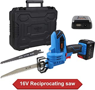 """16V MAX Lithium-Ion Cordless Reciprocating Saw Kit with 2x Wood Blades and 1/2"""" Stroke Length For Wood & Metal Cutting - Includes 4.0Ah Battery, Smart Charger and USB Power Source, and Plastic Case"""